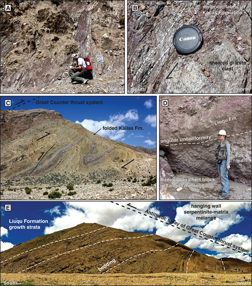 Photographs from the Lazi region. (A) Outcrop exposure of protomylonitic Kailas Formation conglomerate along the northernmost splay of the Great Counter thrust, displaying top-to-the-north sense of shear. (B) Protomylonitic fabrics in both Kailas Formation matrix and cobbles along the exposure in photograph A. (C) North-dipping recumbent fold and synthetic fault in the Kailas Formation beneath the Great Counter thrust system shear zone shown in A and B. (D) Liuqu Formation pebble conglomerate deposited in angular unconformity atop a bedded, radiolarian chert block within the Tangga mélange. The Liuqu Formation at this locality coarsens upward to cobble and boulder conglomerate and is dominated by chert clasts. (E) Fanning beds in the Liuqu Formation that transition from overturned (to the north) to moderately south-dipping (to the south) in the footwall of a north-dipping fault that we interpret as an antithetic splay of the Great Counter thrust system.