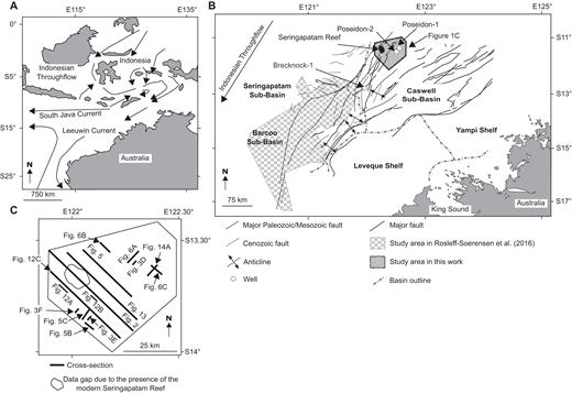 (A) Location map of the Browse Basin showing the study area, ocean currents, and their flow directions (arrows). (B) Enlarged location map of the seismic data set and the Poseidon-1 and Poseidon-2 wells relative to the main structural elements of the Browse Basin. The figure also shows the location of Rosleff-Soerensen et al. (2016) study and the Brecknock-1 well. (C) Location map showing the position of all cross sections and mapped horizons shown in this work.