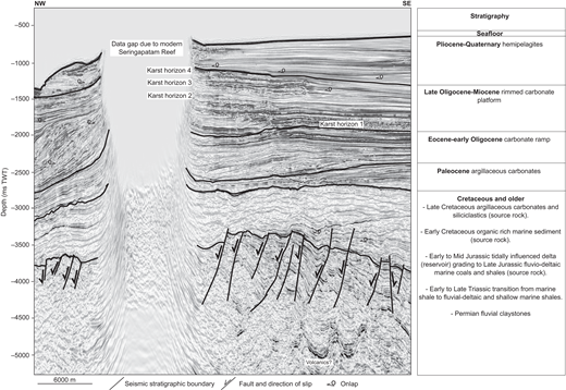 Two-way time (TWT) seismic profile showing the seismic stratigraphy and chronostratigraphy of each unit, as well as their associated depositional environments and elements of the petroleum system (after Australian Geological Survey Organisation North West Shelf Study Group, 1994; Howarth and Alves, 2016) in the study area. The focal point of this study is the late Oligocene–Miocene rimmed carbonate platform, which developed above an Eocene–early Oligocene carbonate ramp. At depth, a passive-margin sequence buries the rift-related topography. A gap in the seismic data (see the western portion of the survey) is due to the presence of the shallow-water Seringapatam Reef, across which seismic data could not be acquired. Associated migration effects are observed at the edge of this data gap.