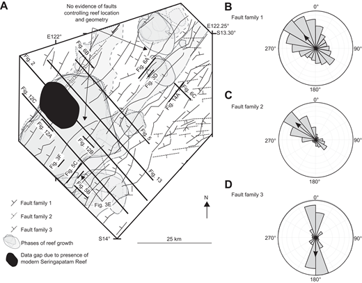 (A) Map showing the three fault families identified in the study area and their positions relative to late Oligocene–Miocene isolated carbonate buildups (please see Supplementary Fig. DR1–DR3 [see text footnote 1]). (B–D) Rose diagrams showing structural data (dip direction) for each fault family. Fault family 1 strikes northeast and chiefly includes northwest-dipping extensional faults formed during Mesozoic rifting. Their fault block topography is buried by the passive-margin sequence. Fault family 2 strikes northeast and includes northwest-dipping extensional faults, which were confined to the margin of the underlying Eocene–early Oligocene ramp. These faults mark the edge of the basin margin, which controlled the northwest extent of Miocene progradation. Fault family 3 strikes roughly to the east and includes south-dipping extensional faults that are confined to the platform interior. These faults offset Miocene strata, but no growth patterns were observed, suggesting they postdated the Miocene and were associated with plate collision and subduction at the Timor Trough. The relative positions of isolated carbonate buildups show no relationship to underlying faults, suggesting these latter played no role in controlling the geometries and locations of isolated carbonate buildups.