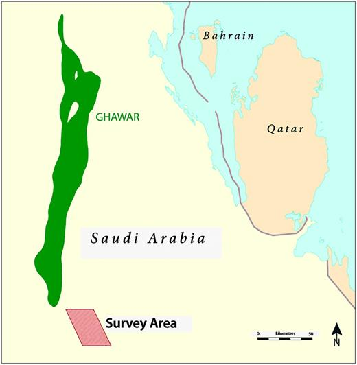 Map of the Eastern Region of Saudi Arabia showing the survey area (rhomboid) and the Ghawar Oil Field for reference.