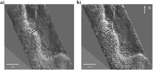 Comparison of consistent dip attribute (Aarre, 2010) showing the deep structural detail at a time slice of 2700ms calculated on the original seismic volume (a) and the new broadband volume (b). The arrow points to one area with increased detail and shows the clear azimuthal similarity to the feature to the north. Generally, the new data provide a very high level of structural detail.
