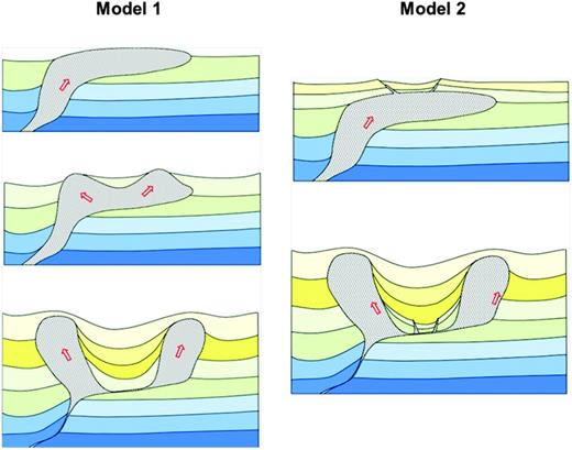 Two alternative models of minibasin subsidence. Model 1 — Minibasin subsides in the absence of fault generation. Model 2 — Graben creation in an extensional setting followed by subsidence results in remnant salt intrusions along faults.