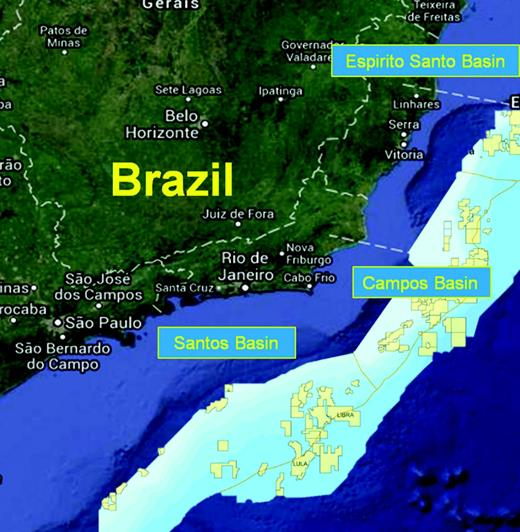 A regional view of the Brazilian offshore prospect areas from Santos Basin in the south through Campos Basin and up to Espirito Santo Basin.