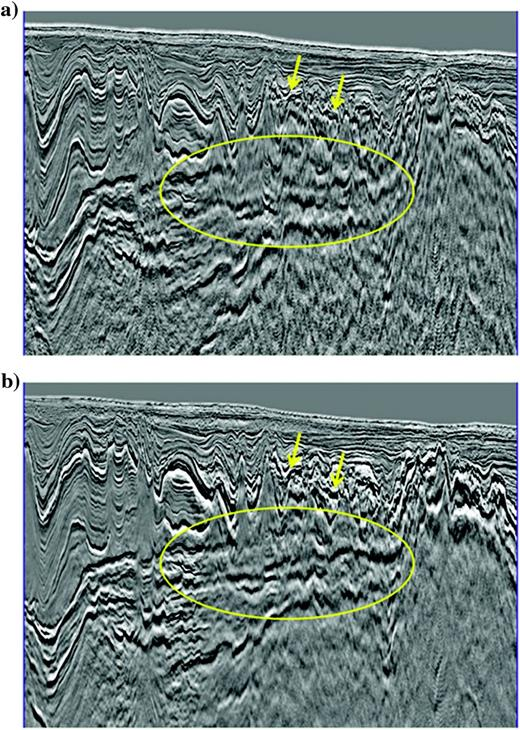A comparison of the presalt structures (a)before and (b)after our iterative subvolcanic velocity updates. The presalt focusing has been improved in this area.