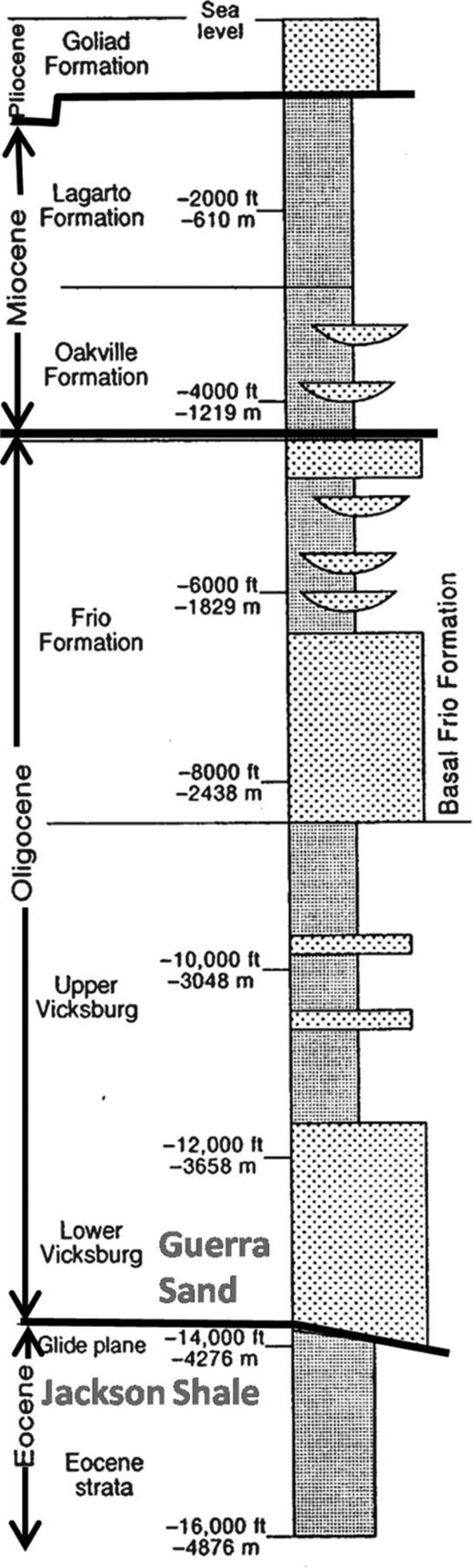 Tertiary stratigraphy in the McAllen Ranch Field area. General depths for McAllen Ranch Field are shown (from Langford et al., 1994). Actual producing depth in the study area is approximately 4250 m (14,000 ft).