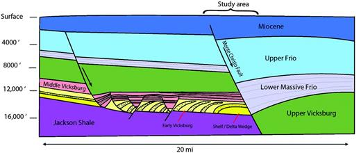 Schematic cross section showing the Vicksburg sequences in the McAllen Ranch Field and vicinity (modified from Whitbread et al., 2000).
