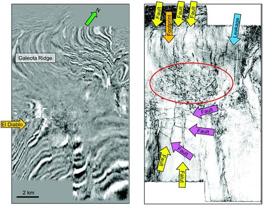 Time slices at t=1.200  s, at the level of the El-Diablo-1 discoveries, offshore Trinidad, through (a) a seismic data volume and (b) a coherence volume. The discoveries were found in blocks bounded by strike-slip and antithetic faults such as those indicated by the arrows. This early implementation of the coherence algorithm (computed on data from an early implementation of v(z) PSDM) was run along time slices rather than along structural dip, giving rise to structural leakage over the steeply dipping Galeota Ridge. The data are also plagued by acquisition footprint. The fault blocks that gave rise to the El-Diablo-1 discoveries form excellent pressure seals. With subsequent drilling, Amoco operators learned that the low-coherence zone in the area indicated by the red ellipse consisted of smaller fault blocks giving rise to laterally variable pressure and in turn laterally variable velocity. The v(z) PSDM used to image these data gave a poor image in these laterally variable zones resulting in the low-coherence anomaly. Original image from Gersztenkorn et al. (1999).