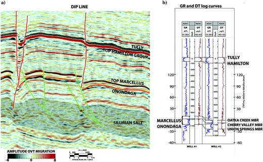 (a) Dip line showing the structural style of the Marcellus Analog 3D survey and (b) gamma ray and delta-time for the reservoir and adjacent stratigraphy for two wells in the Analog 3D survey. Time and depth scales shown are relative to local datums.