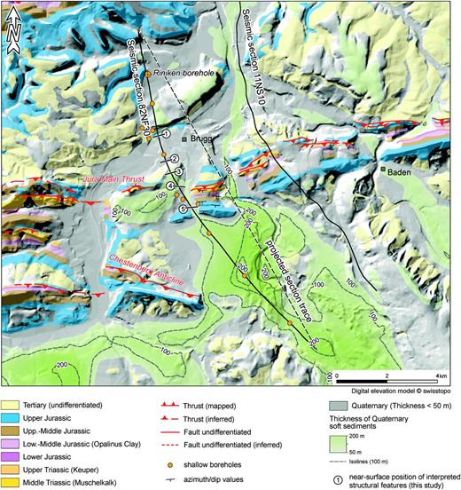 geologic map of the research area showing the trace of the seismic section analyzed in this