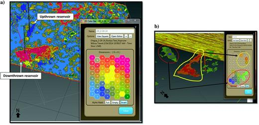 The SOM classification results at a time slice show the base of the upthrown reservoir and the upper portion of the downthrown reservoir and denote: (a) full classification results defined by the associated 2D color map and (b) isolation of upthrown and downthrown reservoirs by specific neurons represented by the associated 2D color map.