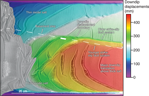 The DIC analysis of model 5 illustrating downdip displacement values. Note the larger downdip translation above thick salt. The sharp boundary between low and high displacements now lies above thin salt because of the convergence across the step. The gray values seen on the left are due to portions of the model that were not visible in the initial frame moving into view during the 2D correlation procedure. Note that this phenomenon is mostly confined to the thick-salt domain, in which translation rates were higher.