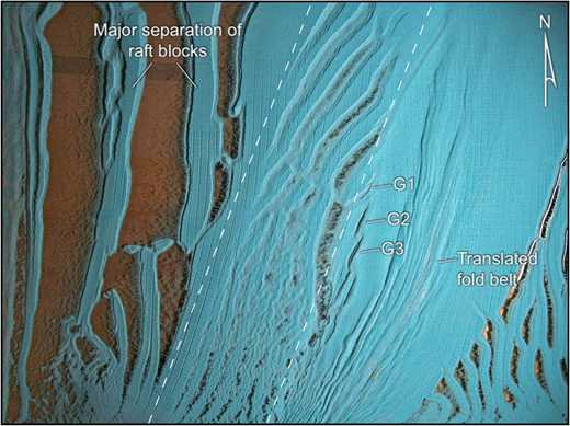 Overhead view of model 7 after 115h runtime. Graben G1–G3 that formed as thickened salt collapsed under extension above the base-salt high block were inverted as they moved off the high block and through the compressional hinge. Note the major separation of the raft blocks in the updip extensional domain and continued extension above the high block, as well as the continued downdip translation of the early formed fold belt.