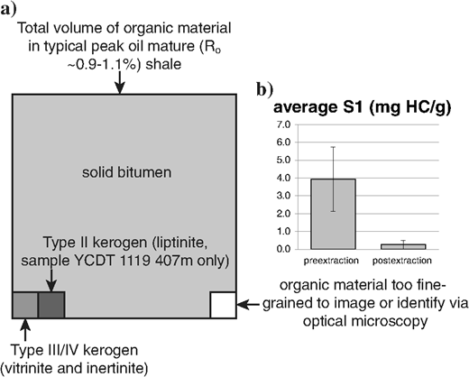 (a) Conceptual volume of total petrographically observable organic matter in Yanchang samples occupied by solid bitumen, type III/IV kerogen (vitrinite and inertinite), type II kerogen (telalginite; sample YCDT 1119 407m only, see text), and material too fine grained to be resolved by optical microscopy. (b) The S1 values of pre and postextracted Yanchang samples. Error bars show one standard deviation. Modified from Hackley and Cardott (2016).