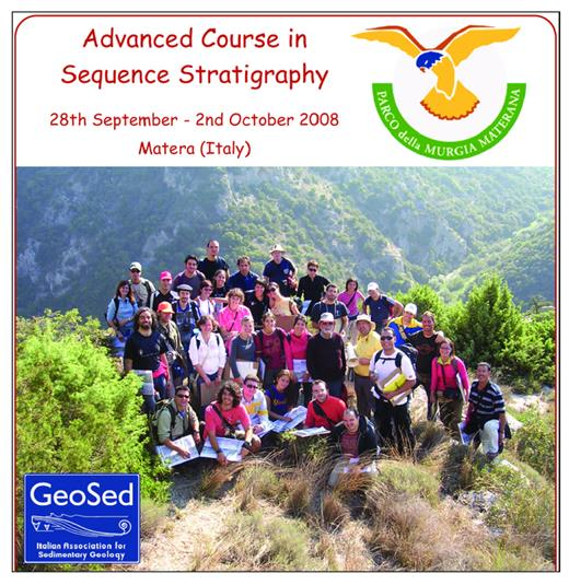 Group of undergraduate and Ph.D. students in Geosciences on the brochure of one of the international courses leaded by Bilal Haq (in the center-right of the group) in the Matera area.