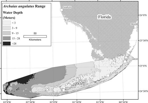 Map showing documented range of Archaias angulatus in South Florida.