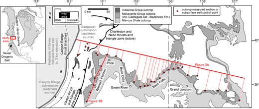 Map showing the geological context of the study area and dataset during development of the Star Point–Blackhawk–Castlegate sediment routing system. The extent and distribution of the outcrop belt, and the positions of tectonic features that influenced geomorphology, drainage and sediment supply from the Sevier Orogen are shown (after Johnson 2003; Horton et al. 2004; DeCelles & Coogan 2006). The inset map (top left) shows the location of the study area on the western margin of the late Cretaceous Western Interior Seaway (after Kauffman & Caldwell 1993).