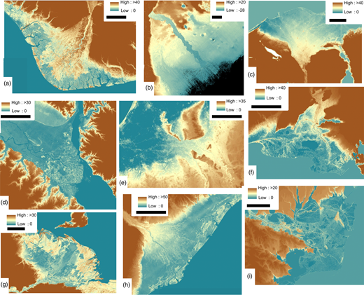 Digital elevation models showing apex type examples: (a) bedrock valley (Niger); (b) Pleistocene valley (Volga); (c) bedrock valley (Nile); (d) bedrock valley-confined (Paraná); (e) alluvial (Rhine; note extension from bedrock valley); (f) bedrock valley (Rhône); (g) bedrock valley (Orinoco); (h) bedrock valley (Zambezi); (i) bedrock-valley (Danube). Black scale bar represents 50km in all images, except (f) and (i), where bar represents 25km. We use the DEMs to display characteristics of deltas as these typically show more detail than imagery as they are not obscured by atmospheric haze.