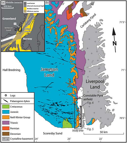Maps of the study area. (a) Pre-drift reconstruction of the seaway between Norway and Greenland at time of deposition of host-rock sediments (Middle Jurassic), modified from Ziegler (1988) and Doré (1992). (b) Geological map of the study area, modified from Ahokas et al. (2014a) with dyke intrusions from Noe-Nygaard (1976).