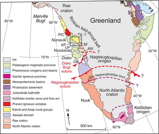 The main geological provinces and boundaries of Greenland. The Rinkian fold–thrust belt is a broad belt of deformation in the Rae craton that formed the lower plate of the Nagssugtoqidian suture. Tectonic subdivisions and boundaries within the Rinkian fold–thrust belt are uncertain although many of the major elements of the geology including the Palaeoproterozoic sedimentary cover sequences and the Prøven igneous complex (part of the Cumberland batholith) are present also on Baffin Island. PIC, Prøven Igneous Complex; KF, Karrat Fjord; UF, Uummannaq Fjord; M, Maarmorilik; AN, Anap Nuna; DB, Disko Bugt; SF, Søndre Strømfjord. Modified from St.-Onge et al. (2009). Printed with permission from Geological Society, London.