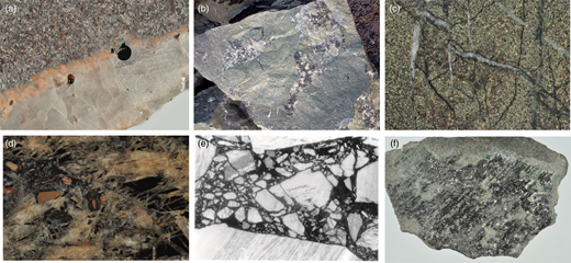 Bitumen in Longmyndian metasediments, in hand specimen. (a) Bitumen in globules in quartz-lined fractures, Bayston Hill; (b) fracture surface coated with mixed calcite and bitumen, Bayston Hill; (c) close-up of mineralized fractures, showing multiple generations of both calcite and bitumen, Bayston Hill; (d) fracture-fill barite crystals mixed with bitumen, cut by breccia zone containing wallrock fragments, Haughmond Hill; (e) breccia zone of wallrock fragments suspended in bitumen, Downton; (f) bitumen-coated fracture, subsequently slickensided, Haughmond Hill. Field widths: (a) 5cm; (b) 25cm; (c) 2cm; (d) 6cm; (e) 5cm; (f) 10cm.