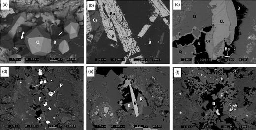 Scanning electron photomicrographs of bitumen in Longmyndian metasediments. (a) Authigenic quartz (Q) in bitumen (B); (b) barite (Ba) and calcite (Ca) crystals in bitumen (B); (c) chlorite (CL), calcite (Ca), quartz (Q) and barite (Ba) in bitumen (B); (d) pyrite crystals (bright) in bitumen (dark) and mixed potassium feldspar and albite (F); (e) brookite (B) and potassium feldspar (K) in bitumen (dark); (f) intermixed feldspars (F) and bitumen (B). (a) Bayston Hill; (b–f) Haughmond Hill.