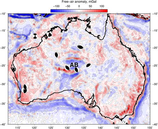 Free-air gravity anomalies in Australia, from the Eigen-6C model of Forste et al. (2011), contoured at 20 mGal intervals. Also shown are the mechanisms of earthquakes of Mw 5.5 and larger, from Fredrich et al. (1988), McCaffrey (1989) and the global CMT project. AB, Amadeus Basin.