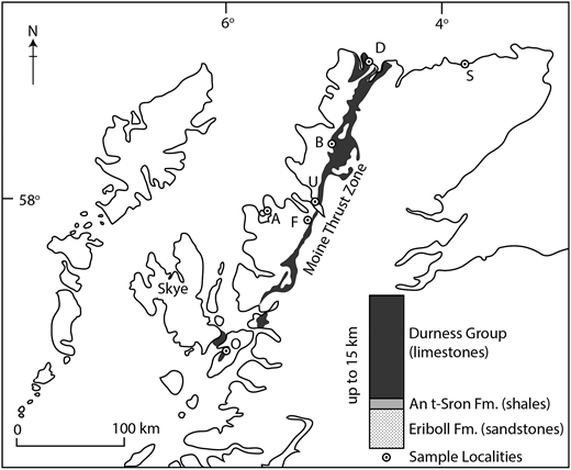 Stratigraphic succession, and outcrop map of Durness Group limestones in NW Scotland, showing sample localities. A, Aultbea; B, Skiag Bridge, Assynt; D, Durness (Kyle of Durness and Balnakeil Bay); F, Dundonell Forest; O, Ord; S, Sandside Bay; U, Ullapool.