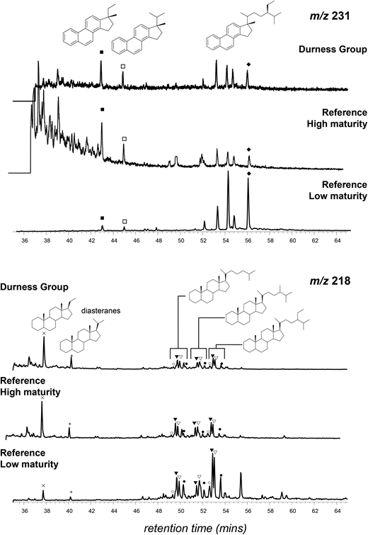 Ion chromatograms for steranes (m/z 218) and triaromatic steroids (m/z 231) for Durness Group sample from Assynt, compared with reference low and high thermal maturity contemporary samples in Canadian High Arctic (Parnell et al. 2007). Durness Group data are more similar to reference high maturity data.
