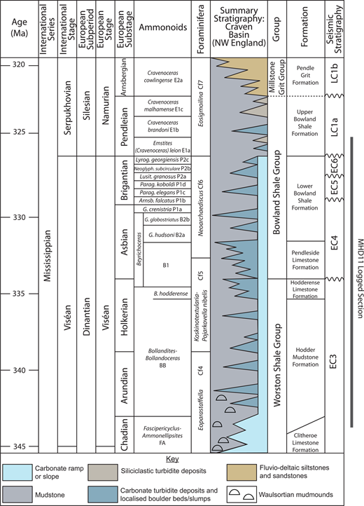 Summary of the lithostratigraphy of the Craven Basin (modified from Waters et al. 2009), showing ammonoid zones (after Riley 1993; Waters & Condon 2012), foraminifera zones (after Riley 1993; Somerville 2008), lithostratigraphy (after Gawthorpe 1986; Riley 1990; Aitkenhead et al. 1992) and seismic stratigraphy (after Fraser & Gawthorpe 2003).