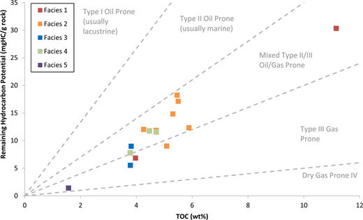 Kerogen quality plots indicating the kerogen type of the remaining total organic matter (y-axis corresponds to S2 from Rock-Eval™). The majority of samples are composed of mixed type II–III kerogens; four samples (from Facies 1, 2, 3 and 5) demonstrate type III kerogens.
