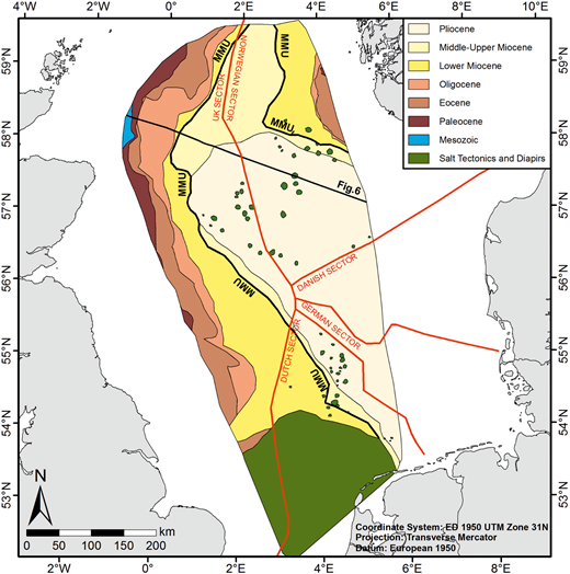 Simplified map of the base Quaternary subcrop indicating areas of sediment hiatus particularly on the western side of the basin. In the southern North Sea the subcrop becomes extremely complex owing to the presence of large-scale salt tectonic features, which heavily disturb the seismic reflection correlated to the base Quaternary. MMU, Mid-Miocene Unconformity.