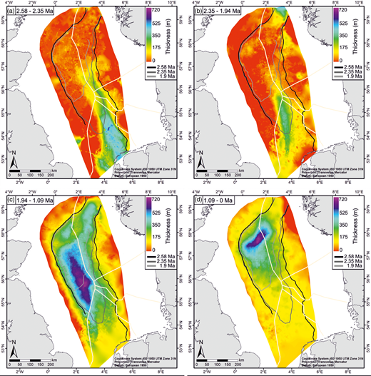 Present-day thickness maps of compacted Quaternary strata used to estimate sedimentation rates: (a) 2.58 – 2.35 Ma; (b) 2.35 – 1.94 Ma; (c) 1.94 – 1.09 Ma; (d) 1.09 Ma to present-day sea floor. Location of clinoform breakpoints at 2.58, 2.35 and 1.94 Ma is shown.
