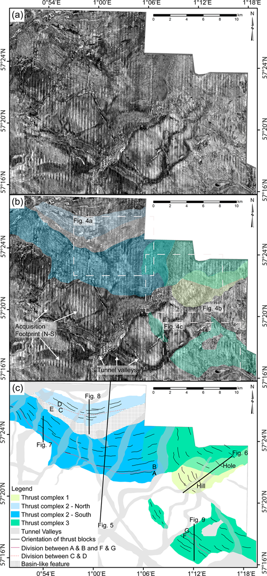 (a) Time slice from the BroadseisTM dataset at 294 ms TWT (data courtesy of CGG). Thrust blocks are visible as bands stretching from approximately east to west and NW to SE in semi-circles. (b) Time slice (294 ms TWT) overlain by the interpretation of the three areas of the thrust complex. Examples of tunnel valleys are marked with arrows. Examples of systematic noise are marked with arrows. Examples of tunnel valleys are marked with arrows. Three dotted squares show the location of close-ups of the time slice seen in Figure 4. (c) Interpretation of the thrust complex divided into three areas; thrust complex 1 (yellow), thrust complex 2 (blue) and thrust complex 3 (green). The slightly curved black lines show the direction of the thrust blocks. Thick black lines indicate the key 2D cross-profiles (Figs 5 – 9).