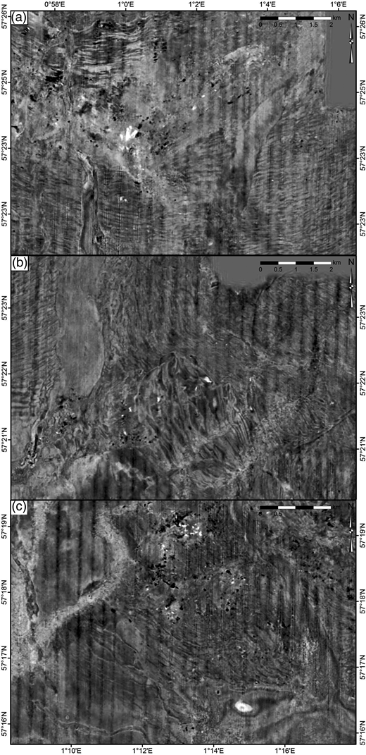 Three close-ups of the time slice illustrating the thrust blocks of (a) thrust complex 2 areas A and B, (b) complex 1 showing the hill of the hill–hole pair, and (c) of thrust complex 3 areas F and G (data courtesy of CGG). (For location see Fig. 3b.)