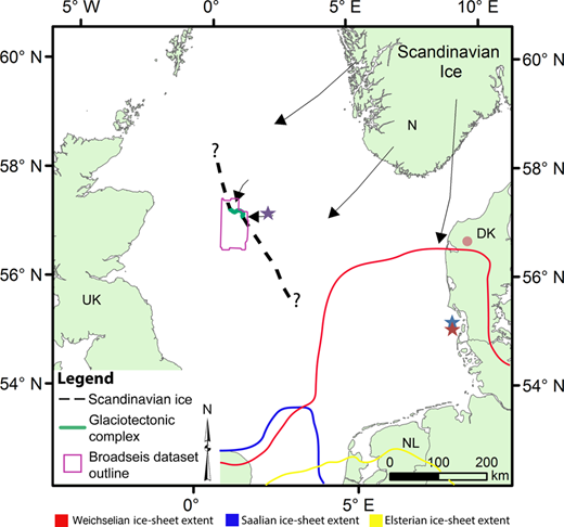 Proposed ice margin and ice-flow of the Fennoscandian Ice Sheet during MIS 16. The ice flow is shown to originate from north and NE, flowing into the central North Sea. The outline of the BroadseisTM dataset is shown in purple. DK, Denmark; N, Norway; NL, Netherlands; UK, United Kingdom. The extent of the Weichselian ice sheet is marked with a red line (e.g. Huuse & Lykke-Andersen 2000b; Svendsen et al. 2004), the Saalian ice sheet is marked with a blue line (e.g. Astakhov 2004; Ehlers et al. 2004; Svendsen et al. 2004) and the Elsterian ice sheet is marked with a yellow line (e.g. Huuse & Lykke-Andersen 2000b). Different glaciotectonic features located onshore and offshore are illustrated with circles and stars, respectively (see Fig. 11 for references).