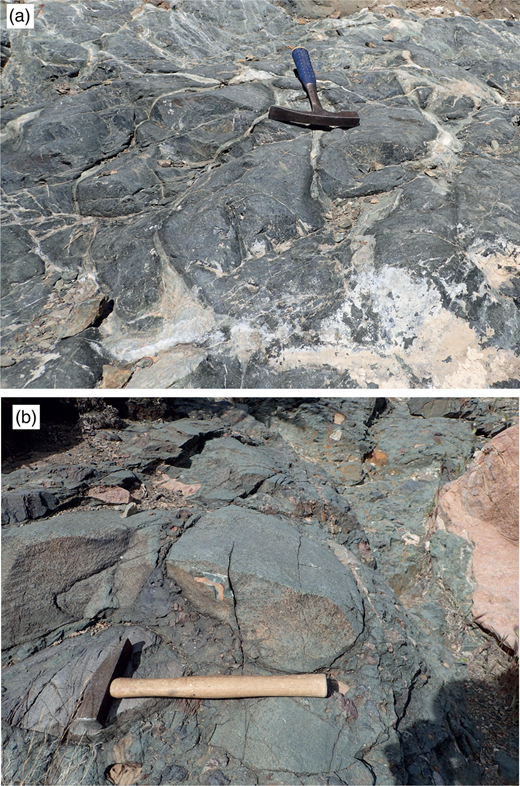 Comparison of rounded metabasite forms. (a) Sampled pillow lava (HC1) from the KPu in the Panamint Range. (b) Conglomerate/diamictite from the KPu of the Southern Kingston Range, tens of metres from sampled metabasite olistolith KR1. Carbonate boulder, right of image. Metabasite clast, above hammer. Compare to Fig. 3b and e (Silurian Hills), and Fig 5c and e (Kingston Range).