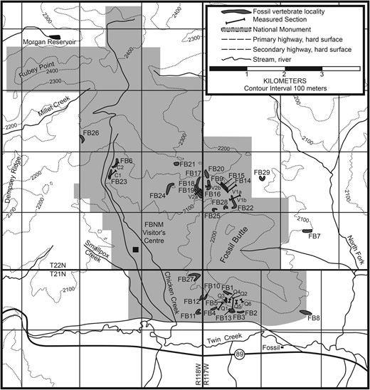 Map showing fossil vertebrate localities and measured sections in the Wasatch