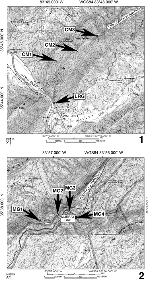 Maps for localities on Chilhowee Mountain, Blount County, Tennessee, U.S.A., discussed in text. (1) Little River Gap area, near Walland. (2) Murray Gap area, near Montvale Springs. Walland (in 1) is located ~15.3 km (9.5 miles) northeast of Murray Gap (in 2); general location of these two maps within Tennessee shown by star symbol in Figure 1. Locality abbreviations: CM, newly discovered fossiliferous exposures on Chilhowee Mountain, including within Nichols Shale (CM1), lowest few meters of Murray Shale (CM2), and Buenellus-bearing site within Murray Shale (CM3); LRG, classic Little River Gap roadside exposure; MG1, base of Murray Shale exposed alongside disused bridleway; MG2 and MG3, roadcuts through Murray Shale collected by Laurence and Palmer (1963) and Wood and Clendening (1982); MG4, roadside exposure at intersection of Happy Valley Road and Flats Road. Maps created with TOPO! software (©National Geographic Society, 2002).