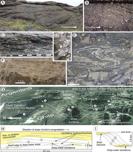 Evidence for sediment bypass from outcrop.A) Backstepping and B) forestepping cross-stratification in conglomeratic units of the deep-water Magallanes foreland basin, Chile. In both instances, sandstone beds are not a significant part of the sedimentary facies association, as large flows carried much of their sand and mud components farther basinward. Part A is from a slope clinothem in the Tres Pasos Formation, whereas Part B is from a channel deposit in the Cerro Toro Formation (cf.Winn and Dott 1977).C) Channel deposit, consisting of a lag composed of intrabasinal and extrabasinal clasts, as well as overlying abandonment mudstone (not shown). Although the conduit transported extensive sand basinward, the intraslope segment of the channel was dominated by sediment bypass (modified from Hubbard et al. 2010).D, E) Sandstone-filled trace fossils of the Cerro Toro Formation, which subtend from erosion surfaces found within slope strata. In each case the trace fossils penetrate muddy debrites, and indicate that turbulent flows transporting sand passed across the overlying sediment–water interface. Passively filled trace fossils are indicated with white arrows.F) Thinly interbedded sandstone and mudstone within a slope channel or scour fill in the Ardath Formation, coastal California. The incision was associated with erosive flows that likely bypassed much of their sediment basinward.G) Eastward view of an outcropping high-relief basin margin in satellite imagery draped on topography, along the Chile–Argentina border, Magallanes Basin. The north–south oriented transect is 40 km long, with units at the top (east) of the image fluvial–deltaic in origin, and those towards the base (west) dominated by sediment-gravity-flow deposits.H) A line-drawing trace of the area outlined by the white dashed rectangle shown in Part G. Sandstone-dominated non-marine to shallow-marine strata are detached from deep-water, lower-slope sandstone units as a consequence of bypass of coarse-gra