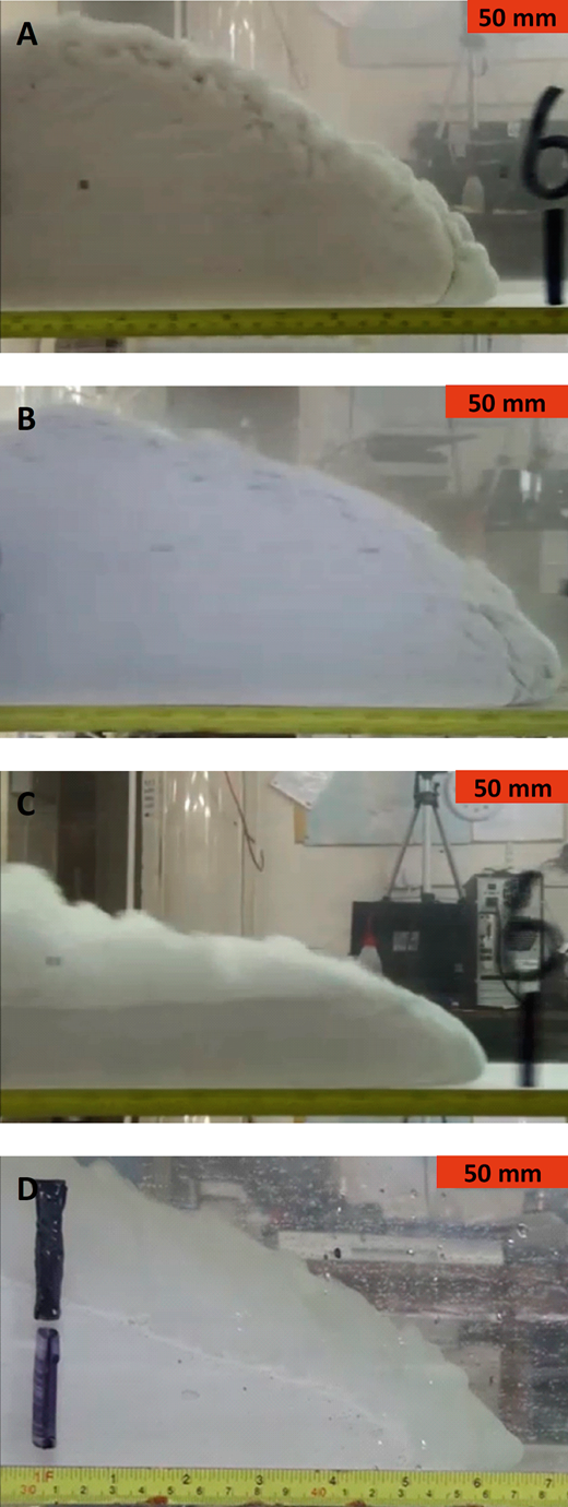 Video snapshots of the heads of the silica-flour flows at A)C = 5%, where the flow was fully turbulent, at t = 8.00 s and at x = 1.80 m along the tank; B)C = 25%, which was also turbulence-dominated, at t = 1.70 s and x = 0.90 m; C)C = 48%, showing a two-layer HDTC structure, at t = 3.40 s and x = 1.80 m; D)C = 52%, a slide in its final stages, at t = 5.87 s and x = 0.43 m.