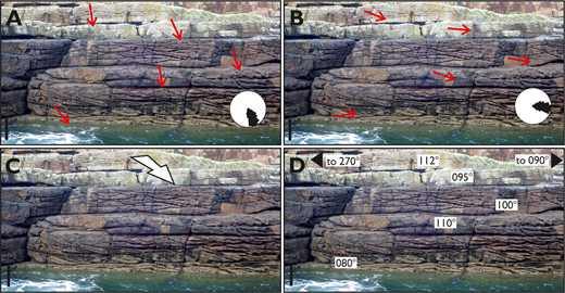 Existing and contrasting techniques for representing paleocurrent data on a vertical outcrop image. Image shown illustrates an outcrop of the Neoproterozoic Applecross Formation on Handa Island, Scotland, where foresets of braided-river alluvium exhibit a mean paleoflow towards the ESE (100°). Photograph taken facing 320° NW. Scale bar 1 meter. A) Arrows oriented relative to outcrop strike. B) Arrows oriented relative to north. C) 3D arrow. D) Textual information.