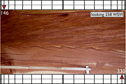 Example of presentation technique applied to an individual bed. Bidirectional dip of superimposed foresets within tidal herringbone cross-stratification. Dip direction of upper set shown at top of image and dip direction of lower set at bottom of image. Silurian Tumblagooda Sandstone, Kalbarri National Park, Western Australia.