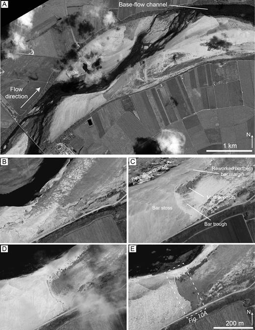 Satellite photographs over a five-year span at the Burdekin River near the Inkerman Bridge. Photographs taken: A, E) in February 2016; B) in December 2011; C) in December 2012; D) in January 2014. Satellite images courtesy of the DigitalGlobe Foundation.