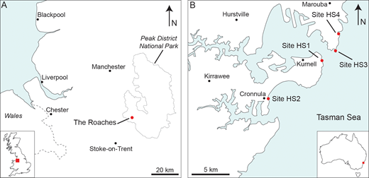 A) Map of the location of the Roaches field site. B) Map of the locations, denoted with a red circle, where exposures of the Hawkesbury Sandstone were examined.