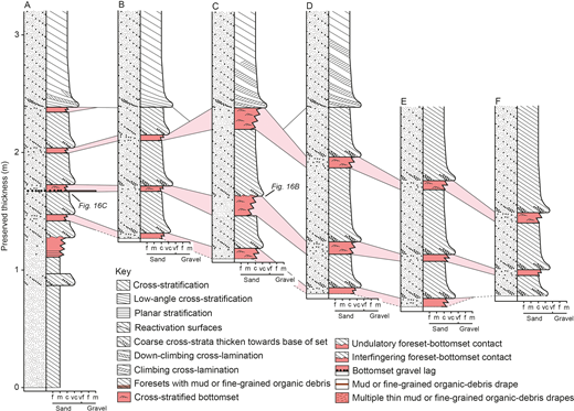 Measured sedimentary logs of the exposure examined at The Roaches. Bottomsets are highlighted in light red. The position of each log is identified in Figure 14A and B. Solid lines between logs denote the continuation or wedging out of sets; the dashed lines note where the sets have been partially eroded away. The zigzag lines on bottomset deposits denote their relatively poor sorting. For illustrative purposes, cross-strata in the logs were drawn dipping to the right; see Figure 14 for information on true dip direction.