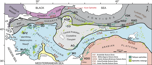 Simplified tectonic map of Anatolia, showing the major tectonic belts, collisional suture zones, and Tethyan ophiolites and ophiolitic mélange zones. Abbreviations for different ophiolites and ophiolitic mélanges: AO—Aladağ ophiolite; AOM—Ankara ophiolitic mélange; BFZ—Bornova flysch zone; CO—Çiçekdağ ophiolite; DO—Dağküplü ophiolite; EO—Eldivan ophiolite; KAO—Kağızman ophiolite; KDO—Kızıldağ ophiolite; KO—Kargı ophiolite; KOP—Kop ophiolite; KKO—Kırdağ-Karadağ ophiolite; MO—Mersin ophiolite; MuO—Muğla ophiolite; OR—Orhaneli ophiolite; RO—Refahiye ophiolite; SO—Sahvelet ophiolite; TO—Tavsanlı ophiolite (data from Okay and Tüysüz, 1999; Dilek and Whitney, 2000; Dilek et al., 2010; Sarıfakıoğlu et al., 2017).