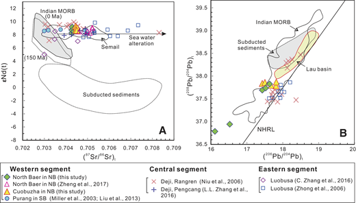 Age (128 Ma) corrected Sr-Nd and Pb isotopic data for mafic dikes intruding peridotites in the northern belt (NB), Tibet. SB—southern belt. Mafic rocks are from Semail in Oman (Godard et al., 2006). Indian mid-oceanic ridge basalt (MORB) values are after X. Liu et al. (2014); Lau Basin basalts are after Escrig et al. (2009); subducted sediments are after Plank and Langmuir (1998) and X. Liu et al. (2014). NHRL—Northern Hemisphere reference line.