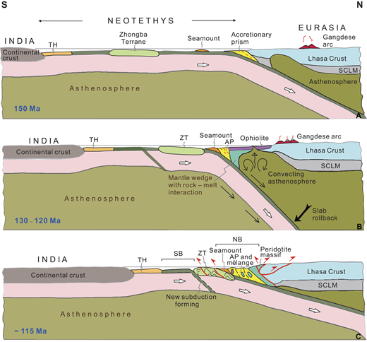 Tectonic model depicting the evolution of the upper mantle peridotites and the active margin of the Lhasa block during the late Mesozoic. See text for discussion. AP—accretionary prism; NB—northern belt; SB—southern belt; SCLM—subcontinental lithospheric mantle; TH—Tethyan Himalaya; ZT—Zhongba terrane.