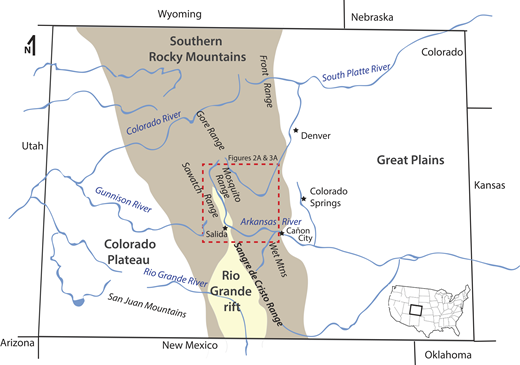 Location map showing the state of Colorado (USA) with major rivers in blue. General geologic provinces include the Great Plains, the southern Rocky Mountains (light brown shading), the Colorado Plateau, and the northern extent of the Rio Grande Rift (light yellow shading within the southern Rocky Mountain province). Dashed red box marks area of study (Figs. 2A and 3A).
